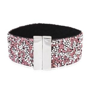 Pink and White Chroma Crystal Silvertone Bracelet